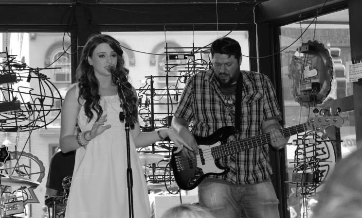 Nashville bassist Ryan Byrne performing with Courtney Dickinson