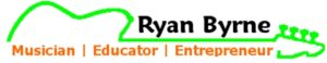 Logo for Ryan Byrne (Neon Green outline of bass guitar with the words
