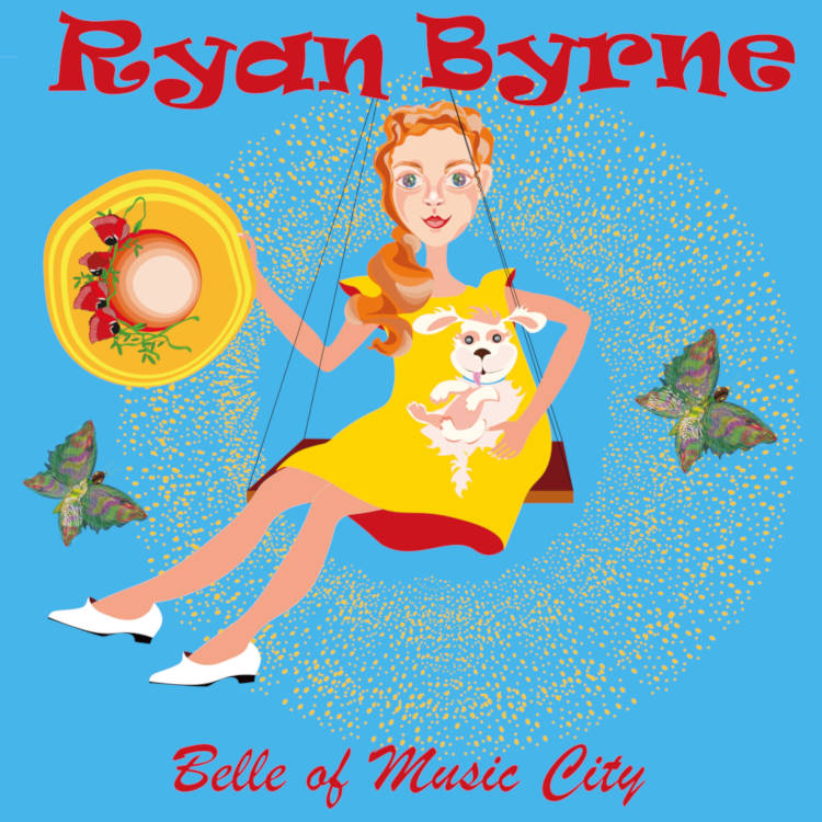 "Cover art for ""Belle of Music City"" song by Ryan Byrne depicting cartoon drawing of pretty girl in a sundress sitting on a swing holding a small dog in one hand and her fancy hat in the other. Image licensed from Adobe Stock."